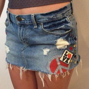 VS PINK light wash mini skirt, size 4